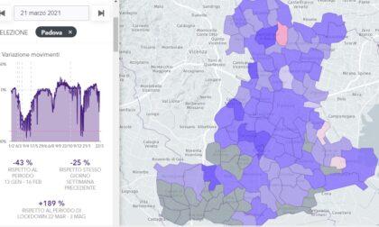 Macché zona rossa, nel Padovano movimenti su del 189% rispetto al 2020