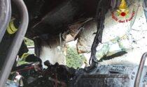 Vigonza, bruciata la cabina di guida del camion: probabile guasto elettrico